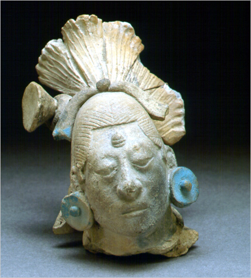 Maya blue retains its vibrant color for centuries. This 4.5-inch-high figurine head from Jaina Island dates from the Maya Late Classic period from 600 to 900. Credit Field Museum