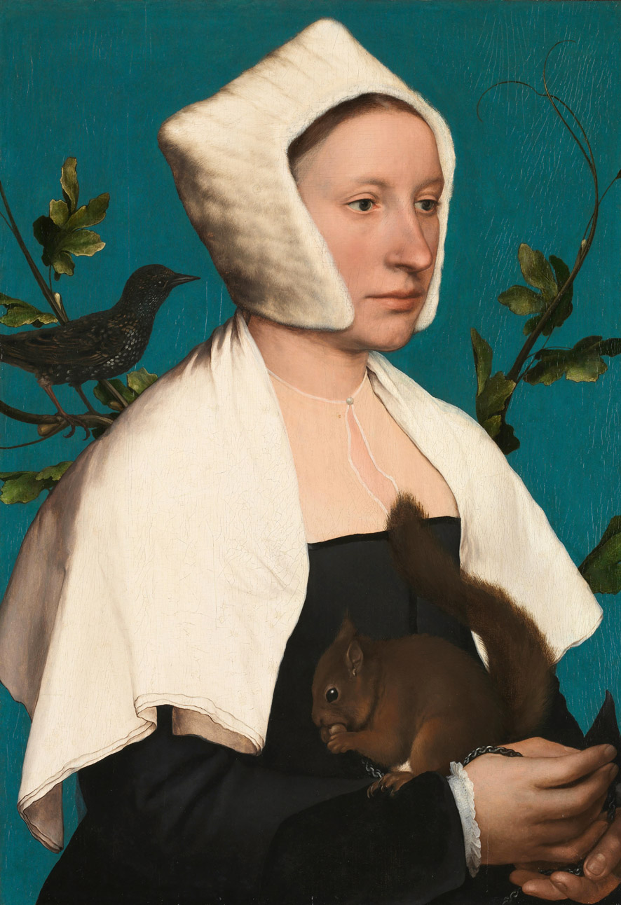 The background of Lady with a Squirrel by Hans Holbein the Younger was painted with Azurite