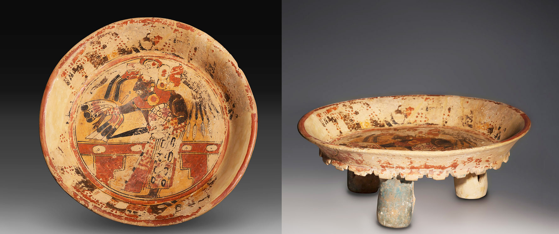 Three legged Mayan bowl 600 - 900 AD.