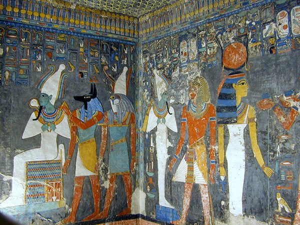Egyptian Blue seen on the walls at the Grave of King Haremhab, ca 1300 BC