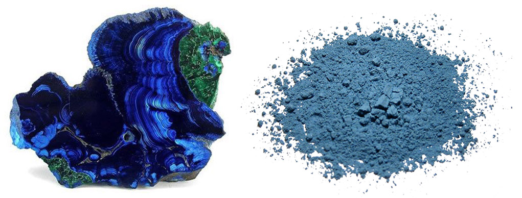Azurite with Malachite Nodule: A specimen of nodular azurite sawn and polished to reveal its beautiful blue structures (left. Ground azurite for use as a pigment (right).