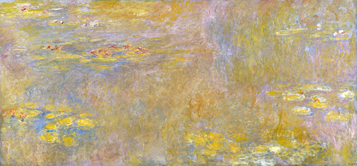 Water Lillies 1919. Monet used many of the new colours including Cadmium Yellow and Zinc Yellow in this piece.